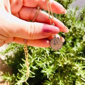 Zodiac Leo gold chain pendant necklace New